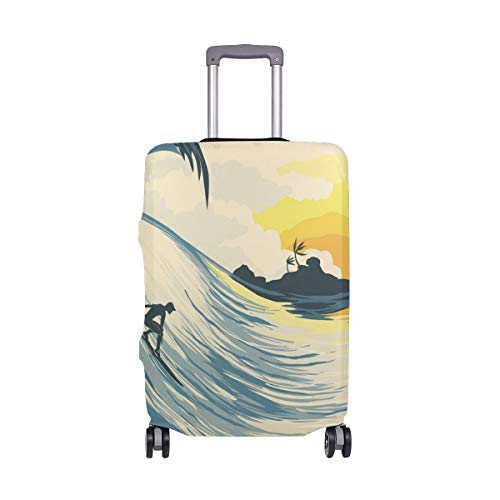 ALINLO Sunset Surf Beach Painting Luggage Cover Baggage Suitcase Travel Protector Fit for 18-32 Inch