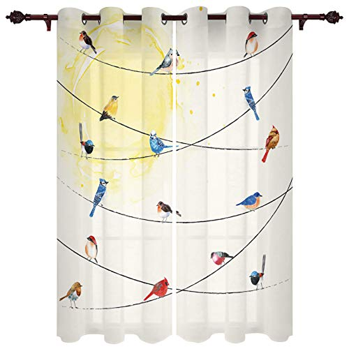 Fandim Fly Grommet Window Curtain Various Type of Birds Sitting and Chirping on Wires Window Curtains Draperies for Bedroom and Living Room 52 x 52 Inch, Set of 2 Panels