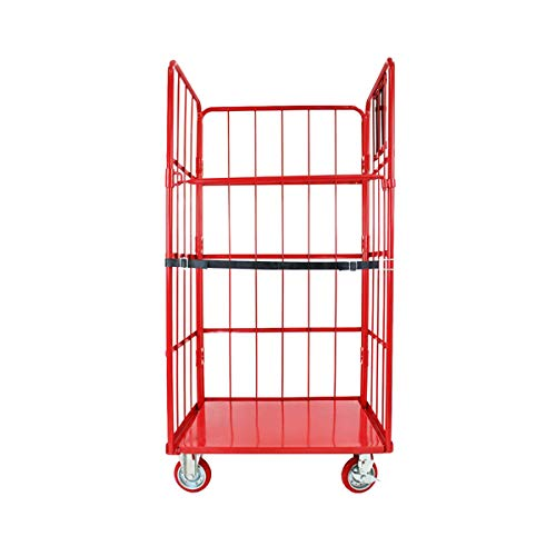 カゴ台車 かご台車 カゴ車 ロールボックス ロールパレット パレット 看板黒板 業務用台車 大型台車 キャスター レッド W95×D80×H170(cm) Aタイプ cago-red-w95-a
