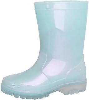 أحذية المطر للأطفال من IBAOTTY أحذية المطر للبنات والأولاد لامعة مقاومة للماء مع لون لؤلؤي