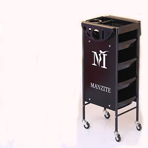 Beauté Chariot Outil de Coiffure Voiture Salon de Coiffure dédié Colorant Chaud Barber Shop Travail Chariot Noir