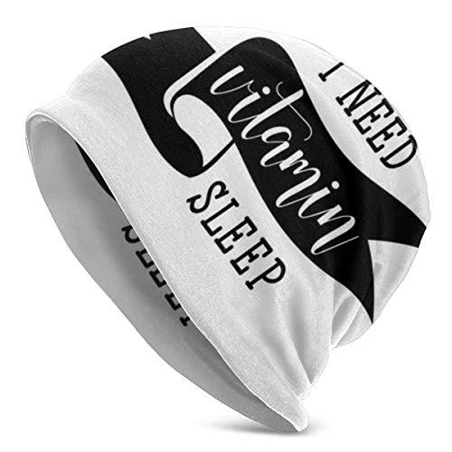Peeeenny Beeen Beanie Men Women - Modern Calligraphy I Need Vitamin Sleep Lettering with Doodled Sleeping Eyes - Unisex Cuffed Plain Skull Knit Hat Cap