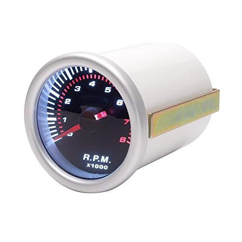Instrumento del Coche Instrumento del Coche 12V tacómetro Correa Alta Sensibilidad tacómetro del Motor 2 Pulgadas (los 52MM) Uso convenientemente (Color : White, Size : One Size)