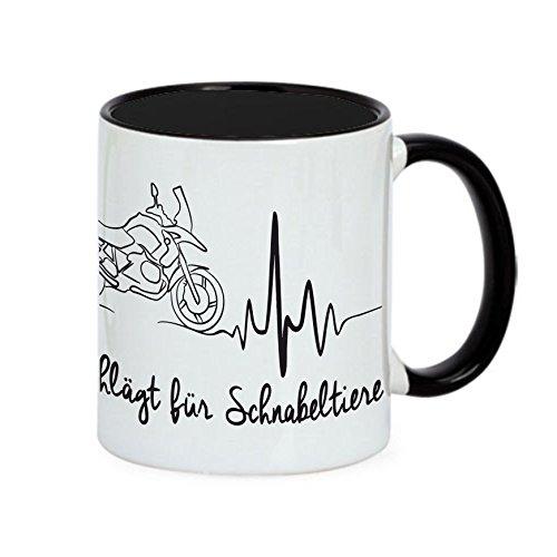 Siviwonder Tasse Schnabeltier Herz Heartbeat Motorrad Fun Kaffeebecher