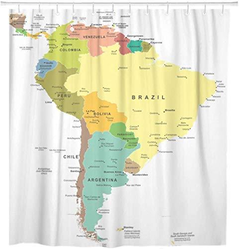 None brand Mapa de América del Sur Central Paraguay Perú Argentina Barbados Cortina de Ducha Impermeable con Ganchos-L180xH180cm