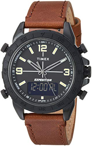 Timex Men's TW4B17400 Expedition Pioneer Combo 41mm Brown/Black Leather Strap Watch Shops Watches Wrist