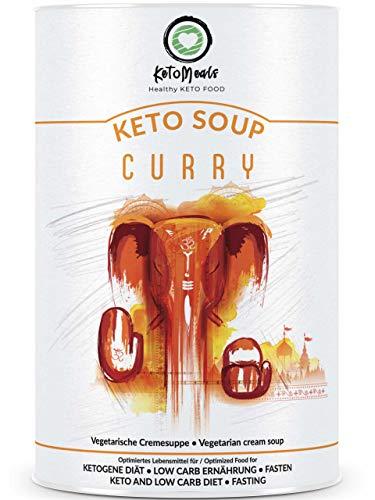 KetoMeals Keto Soup Curry | Ketogene Cremesuppe | Keto Diät, Low Carb Ernährung, Fasten Suppe | Gesunde Ballaststoffe, Leinsamen, Kräuter, Gewürze, Milchprotein (Whey & Casein), 450g Pulver