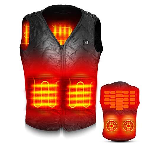 電熱ベスト 電熱ジャケット サイズ調整可能 USB加熱 バッテリー給電 3段階温度調整 5つヒーター 男女兼用 ...