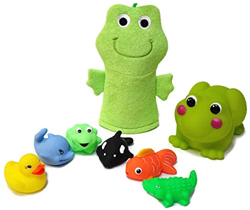 Frog Bath Spout Safety Cover, Puppet Washcloth, and 6 Squirt Toys