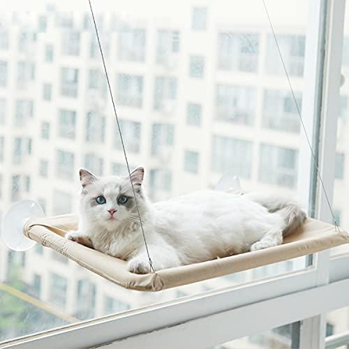 Aischens Ventana montada Hamaca para Gato, Cama Gato Colgante para Gato, Hamaca Ventosa para Gatos con Ventosas de Perilla Resistentes, Soportar hasta 17kg(55x32cm)