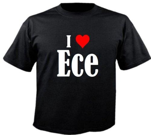 T-Shirt I Love Ece Größe 4XL Farbe Schwarz Druck Weiss