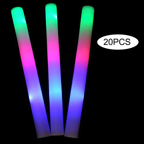 Lifbeier 20PCS Light up Foam Sticks,LED Foam Sticks Glow Batons with 3 Modes Flashing Effect  for Party, Concert and Event