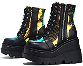 ZBYY Women Chunky Platform Boots Round Toe Lace-Up Zip High Heel Combat Wedge Ankle Boots Waterproof Motorcycle Boots Black