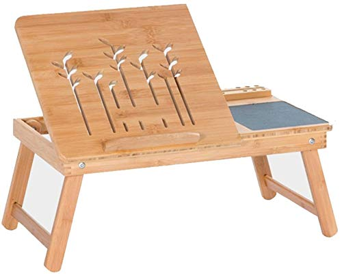 HOMRanger Klappbarer Laptop-Schreibtisch mit Schublade und Mauspad, Kleiner Bambustisch fürs Bett