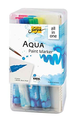 Kreul 18195 Solo Goya Aqua Paint Marker Powerpack XXL Set di 17 colori e un blender Matite artistiche con punta a pennello elastica, colore idrosolubile.