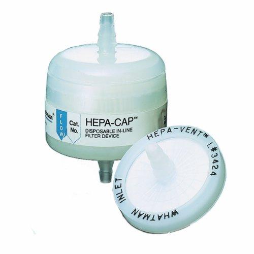 Whatman 2709T Hepa-Cap 75 Polypropyleen In-Line Venting Filter, 60 psi Maximale druk, Inlaat 3/8
