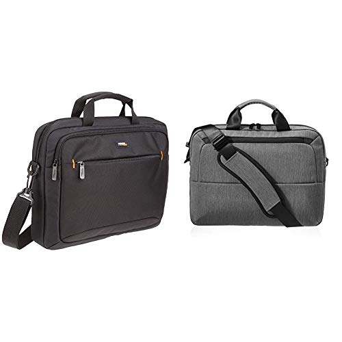 AmazonBasics 14-Inch (35.6 cm) Laptop MacBook and Tablet Shoulder Bag Carrying Case, Black, 1-Pack & 39.62 cm Laptop Bag Professional- Grey