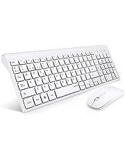 TopMate Combo de Teclado y Mouse inalámbricos, 2.4GHz Teclado y Mouse inalámbricos ultrafinos y silenciosos Diseño ergonómico para PC portátil | Blanco