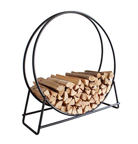 Everflying Price 40 Inch Firewood Log Hoop Rack, Round Tubular Steel Outdoor Wood Storage Holder, Black