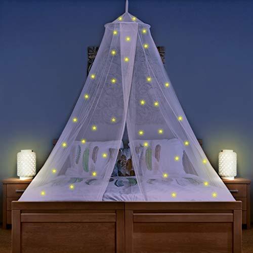 Betthimmel mit 67 vorgeklebten leuchtenden Sternen - Prinzessinen Moskitonetz für Mädchen Zimmerdekoration - Himmelbett Vorhänge für Kinder und Baby Bett