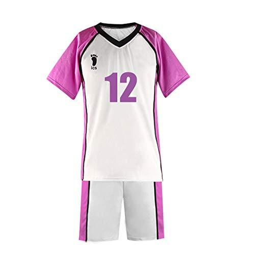 YZJYB Haikyuu !! Traje De Cosplay De Anime Shiratorizawa High School No.12 De Manga Corta Disfraz Volleyball Team Camisa Uniform Conjunto Completo,Small