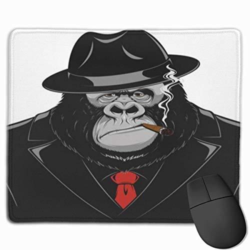 Muismat, muismat, bureau-muismat, leuke maffiieuze gang van Orangutan in een zwarte jurk, die een grijze sigaar en tinnen piept.
