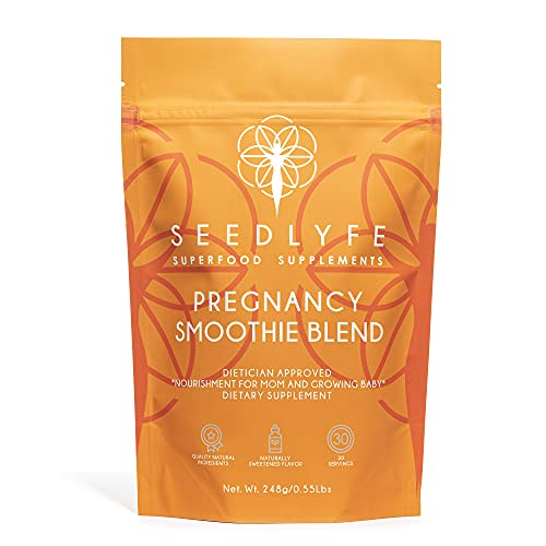 Pregnancy Smoothie Blend - 13 Superfoods for Mom and Growing Baby - Dietician Approved - Relieves Pregnancy Symptoms: Morning Sickness, Heartburn, Nausea, Pregnancy Brain, 30 Servings, 248 Grams