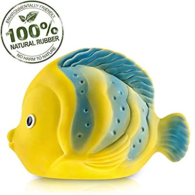 Pure Natural Rubber Baby Bath Toy - La the Butterfly Fish - Without Holes, BPA, PVC, Phthalates Free, All Natural, Textured for Sensory Play, Sealed Bath Rubber Toy, Hole Free Bathtub Toy for Babies