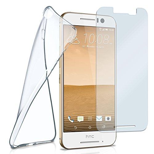 MoEx Silikon-Hülle für HTC One S9 | + Panzerglas Set [360 Grad] Glas Schutz-Folie mit Back-Cover Transparent Handy-Hülle HTC One S9 Case Slim Schutzhülle Panzerfolie