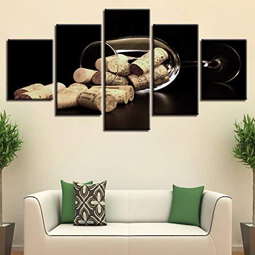 WJDJT afbeeldingen wijnglas en kurk wandafbeelding 200 x 100 cm vlies - canvas foto wandafbeeldingen woonkamer woning deco kunstdruk 5-delig modern muur ophangen home decoratie 150x80cm