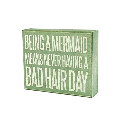 JennyGems Being A Mermaid Means Never Having A Bad Hair Day   Funny Mermaid Sign   Mermaid Decor   Mermaid Gifts   Gift for Mermaid Lover   Beach House Signs