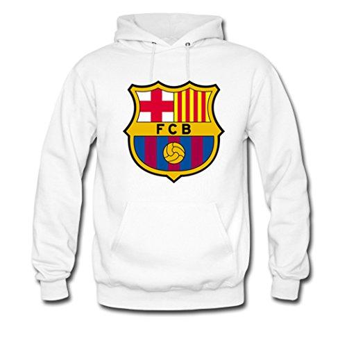 Angelbaby Women Hoodies FC Barcelona Team Logo Pullover Large White