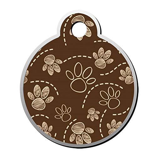 Aanpasbare ronde vorm ID labels, chocolade hond poot patroon gepersonaliseerd dubbelzijdig bedrukte huisdier informatie kraag voor kat hond