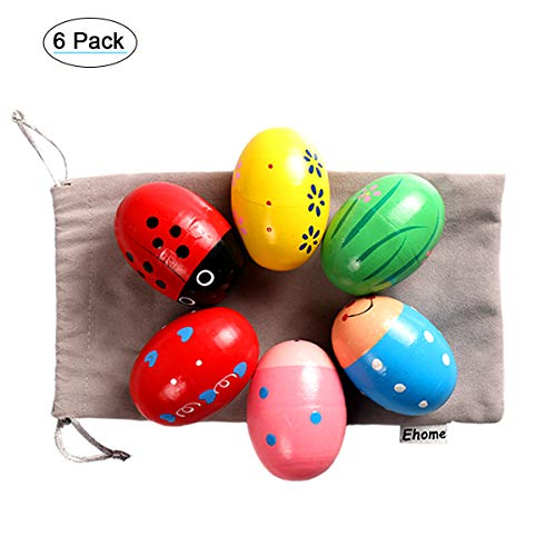 Ehome Easter Eggs Shakers, Wooden Percussion Musical Egg Maracas Shakers Easter Basket Stuffers for Toddler and Kids with Storage Bag