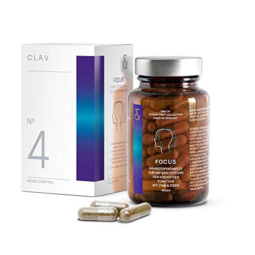 CLAV N°4 FOCUS | Konzentration + Gedächtnis + Leistung | mit CDP Cholin + Ginkgo + Bacopa | 60 Nootropika Kapseln Vegan