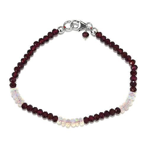 TJC Garnet Bead Strand Bracelet for Women in 925 Sterling Silver with Opal Size 7.5'