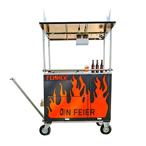 FENNEK on Fire | Der ultimative Bollerwagen aus Edelstahl | inklusive Soundanlage, Kühlfach, Edelstahlgrill, Staufach, Partybeleuchtung, Hochleistungsakku, etc