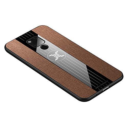 HAOYE Hülle für Huawei Mate 20X 5G Hülle, [ TPU Rahmen ] Handyhülle Schutzhülle, Stoff - Backcover Hülle Cover Canvas Design. Braun