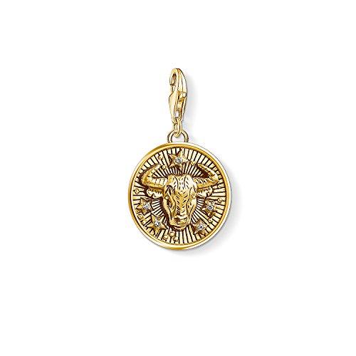 Thomas Sabo - Colgante de Mujer 'Charm Zodíaco Tauro Charm Club', Plata de Ley 925, baño de oro amarillo de 18 quilates, Dorado