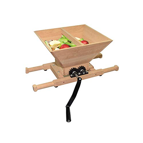 Fruit and Apple Crusher - 7L Manual Juicer Grinder,Portable Fruit Scratter Pulper for Wine and Cider Pressing(Wood,1.8 Gallon)