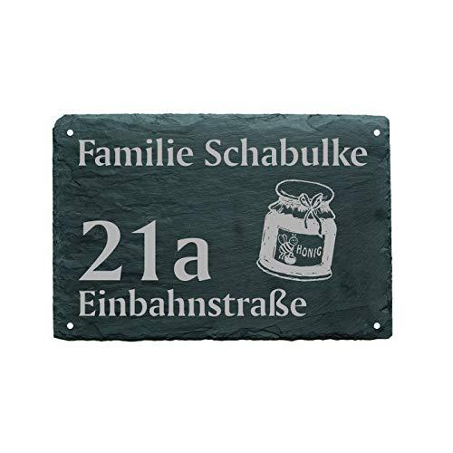 Huisnummer deurbordje HONIG - naam + straat (optioneel) - 22 x 16 cm