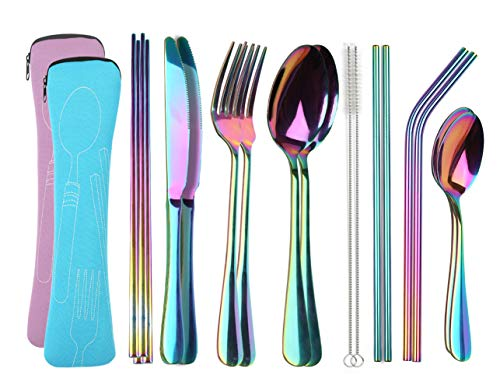 YIMICOO Reusable Travel Utensils with Case, Camping Cutlery Set Stainless Steel Portable Silverware Flatware Set for Picnic Office or School Lunch,Dishwasher Safe (2Sets,Pink+Blue)