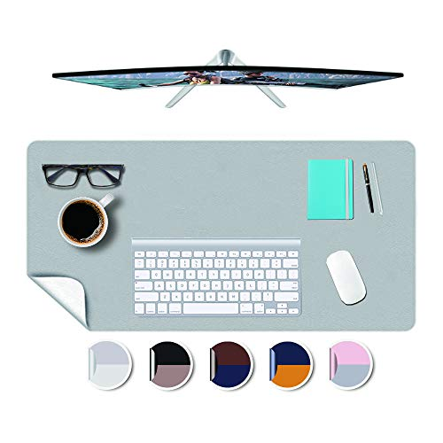 Desk Mat Blotter Office Computer Work Tabletop Protector Cover Pad Organizer Decorative Writing Desktop Waterproof Easy Clean Non-Slip PU Leather Elbow Pads Mousepad Under Keyboard Mat 16x32 Inches
