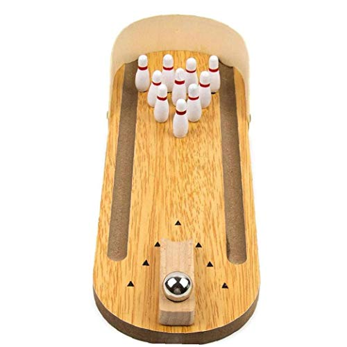 Escritorio De Madera Bowling Mini Bowling Juego De Mesa Bowling Bowling Juguete De Interior Conjunto para Adultos Niños De Color Caqui
