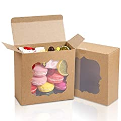 """SIZE: 6 inches Length x 6 inches wide x 2.5 inches high, is an ideal size, a total of 35 high-quality kraft paper boxes. This 6"""" x 6"""" x 2.5"""" baking box is the best choice for cookies, pastries, pies, chocolates, desserts, cheesecakes, donuts, strawbe..."""