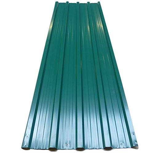 Deuba 12x Paneles para tejado 7m² de chapas perfiladas Verde Techo Pared de Metal Exterior 129 x 45 cm cobertizos jardín