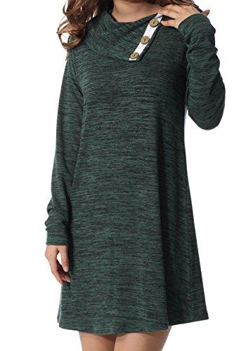 levaca Womens Long Sleeve Button Deco Neck Loose Casual Tunic Dress Green L (Apparel)
