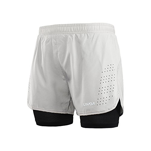 Lixada Men's 2-in-1 Running Shorts Quick Drying Breathable Active Training Exercise Jogging Cycling Shorts Grey