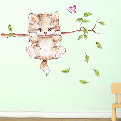 Mignon Chat Papillon Arbre Branche Stickers Muraux Pour Enfants Chambres Décoration de La Maison de...
