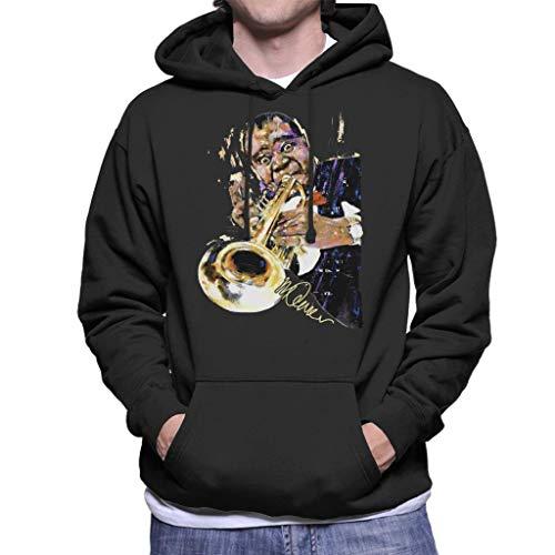 VINTRO Louis Armstrong mit Trompete Herren Kapuzenpullover Original Portrait by Sidney Maurer Professionell bedruckt Gr. XL, Schwarz